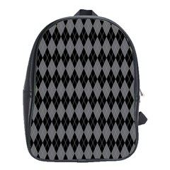 Chevron Wave Line Grey Black Triangle School Bags(large)