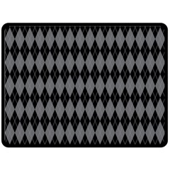 Chevron Wave Line Grey Black Triangle Fleece Blanket (large)  by Alisyart