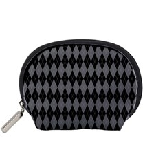 Chevron Wave Line Grey Black Triangle Accessory Pouches (small)  by Alisyart