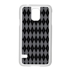 Chevron Wave Line Grey Black Triangle Samsung Galaxy S5 Case (white)
