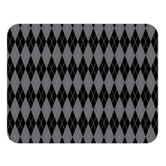 Chevron Wave Line Grey Black Triangle Double Sided Flano Blanket (large)