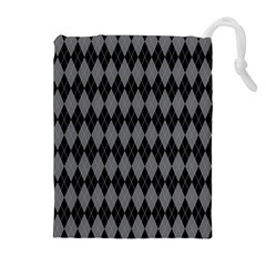 Chevron Wave Line Grey Black Triangle Drawstring Pouches (extra Large)