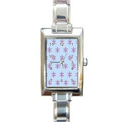Flower Floral Different Colours Blue Purple Rectangle Italian Charm Watch by Alisyart