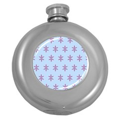 Flower Floral Different Colours Blue Purple Round Hip Flask (5 Oz) by Alisyart