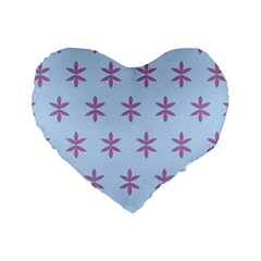 Flower Floral Different Colours Blue Purple Standard 16  Premium Heart Shape Cushions by Alisyart