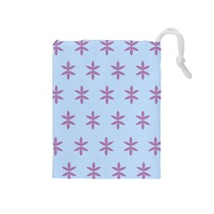 Flower Floral Different Colours Blue Purple Drawstring Pouches (medium)  by Alisyart