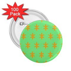 Flower Floral Different Colours Green Orange 2 25  Buttons (100 Pack)  by Alisyart