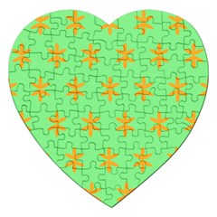 Flower Floral Different Colours Green Orange Jigsaw Puzzle (heart)