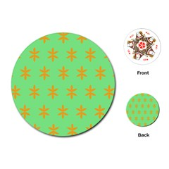 Flower Floral Different Colours Green Orange Playing Cards (round)  by Alisyart