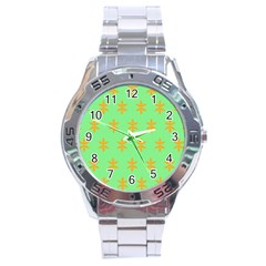 Flower Floral Different Colours Green Orange Stainless Steel Analogue Watch