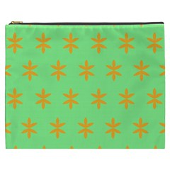 Flower Floral Different Colours Green Orange Cosmetic Bag (xxxl)