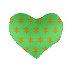 Flower Floral Different Colours Green Orange Standard 16  Premium Heart Shape Cushions by Alisyart