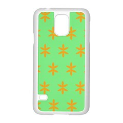 Flower Floral Different Colours Green Orange Samsung Galaxy S5 Case (white)