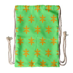 Flower Floral Different Colours Green Orange Drawstring Bag (large) by Alisyart
