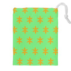 Flower Floral Different Colours Green Orange Drawstring Pouches (xxl) by Alisyart