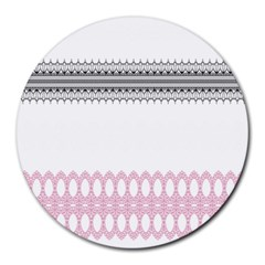 Crown King Quinn Chevron Wave Pink Black Round Mousepads by Alisyart