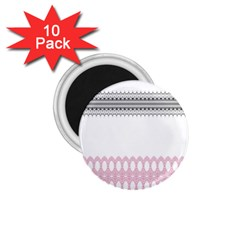 Crown King Quinn Chevron Wave Pink Black 1 75  Magnets (10 Pack)