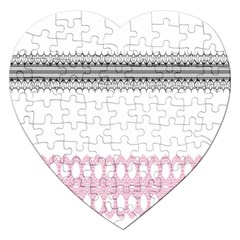 Crown King Quinn Chevron Wave Pink Black Jigsaw Puzzle (heart)