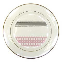 Crown King Quinn Chevron Wave Pink Black Porcelain Plates by Alisyart