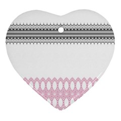 Crown King Quinn Chevron Wave Pink Black Heart Ornament (two Sides)