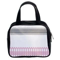 Crown King Quinn Chevron Wave Pink Black Classic Handbags (2 Sides)