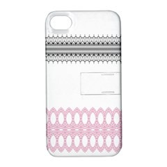 Crown King Quinn Chevron Wave Pink Black Apple Iphone 4/4s Hardshell Case With Stand by Alisyart