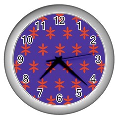 Flower Floral Different Colours Purple Orange Wall Clocks (silver)  by Alisyart