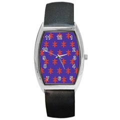 Flower Floral Different Colours Purple Orange Barrel Style Metal Watch by Alisyart