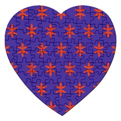 Flower Floral Different Colours Purple Orange Jigsaw Puzzle (heart) by Alisyart