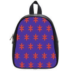 Flower Floral Different Colours Purple Orange School Bags (small)