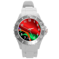 Fractal Construction Round Plastic Sport Watch (l) by Simbadda