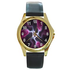 Colorful Fractal Background Round Gold Metal Watch by Simbadda