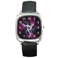 Colorful Fractal Background Square Metal Watch by Simbadda