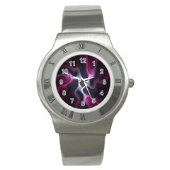 Colorful Fractal Background Stainless Steel Watch by Simbadda