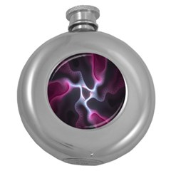 Colorful Fractal Background Round Hip Flask (5 Oz) by Simbadda