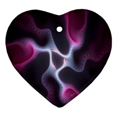 Colorful Fractal Background Heart Ornament (two Sides)