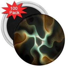 Colorful Fractal Background 3  Magnets (100 Pack) by Simbadda