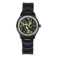 Colorful Fractal Background Stainless Steel Round Watch by Simbadda