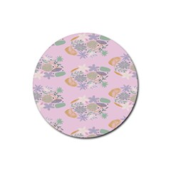 Floral Flower Rose Sunflower Star Leaf Pink Green Blue Rubber Coaster (round)  by Alisyart