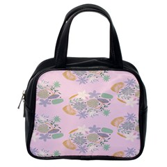 Floral Flower Rose Sunflower Star Leaf Pink Green Blue Classic Handbags (one Side) by Alisyart