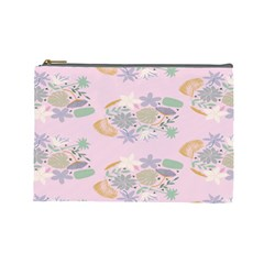Floral Flower Rose Sunflower Star Leaf Pink Green Blue Cosmetic Bag (large)  by Alisyart