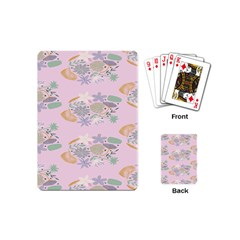Floral Flower Rose Sunflower Star Leaf Pink Green Blue Playing Cards (mini)  by Alisyart