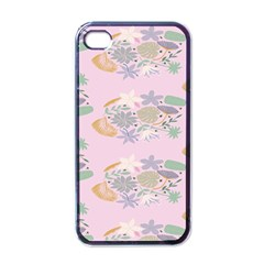 Floral Flower Rose Sunflower Star Leaf Pink Green Blue Apple Iphone 4 Case (black) by Alisyart