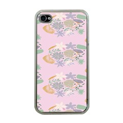 Floral Flower Rose Sunflower Star Leaf Pink Green Blue Apple Iphone 4 Case (clear) by Alisyart
