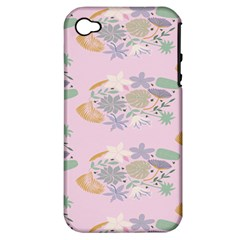 Floral Flower Rose Sunflower Star Leaf Pink Green Blue Apple Iphone 4/4s Hardshell Case (pc+silicone) by Alisyart