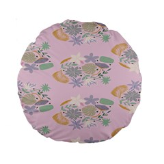 Floral Flower Rose Sunflower Star Leaf Pink Green Blue Standard 15  Premium Round Cushions by Alisyart