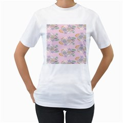 Floral Flower Rose Sunflower Star Leaf Pink Green Blue Women s T-shirt (white)  by Alisyart