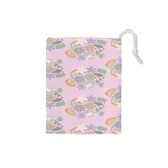 Floral Flower Rose Sunflower Star Leaf Pink Green Blue Drawstring Pouches (small)