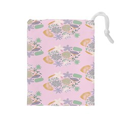 Floral Flower Rose Sunflower Star Leaf Pink Green Blue Drawstring Pouches (large)  by Alisyart