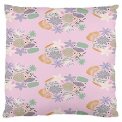 Floral Flower Rose Sunflower Star Leaf Pink Green Blue Large Flano Cushion Case (two Sides)